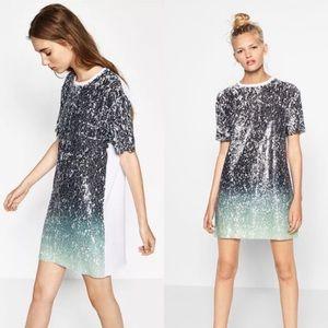 Zara Trafaluc T-Shirt Ombré Sequin Dress